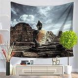 Baisheng Indian Mandala Wandbehang Tapisserie Hippie Wandteppiche Bettwäsche Tagesdecke, Picknick Strand Blatt, Tischdecke, dekorative Wandbehang (Alter Buddha- 59x78 Inch/150x200 cm)