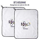Coccole- Set due asciugamani con asola SCUOLA MATERNA E ASILO NIDO 3mesi -5 anni - con nome personalizzato (Blu)