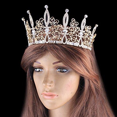 Santfe cristales boda novia Pageant Tiara Corona Diadema, Oro
