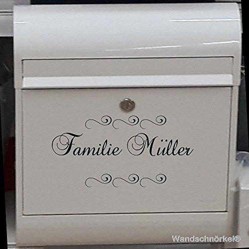 Briefkastenaufkleber mit Ihrem Namen Wunschnamen personalisiert (20 x 11cm, Schwarz)