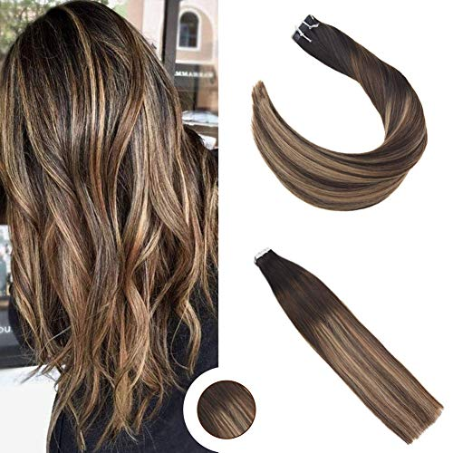 Ugeat Tape extensions echthaar 24zoll Remy Echthaar Haarverlängerung 50g # 1b/3/12 Off Black Fading zu dunkler Brown mit Light Golden Brown