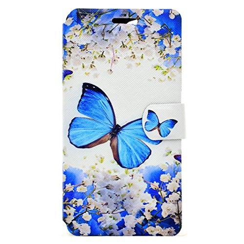 Wiko Pulp Fab 4G Hülle, Chreey Wallet Case Handy Schutzhülle Flip Cover PU Ledertasche Ultradünnes Klapphülle mit Kartenfach und Ständer Handyhülle - Blauer Schmetterling