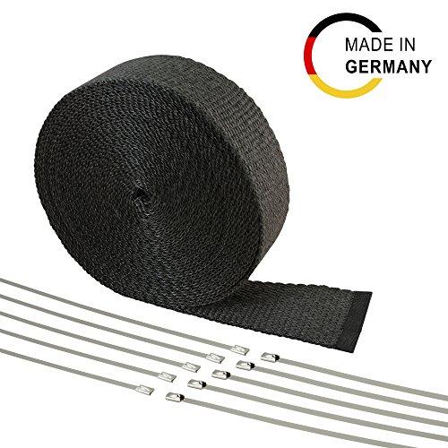 10m Fiberglas Hitzeschutzband schwarz 50mm 850°C + 10 Edelstahlbinder - Hergestellt in Deutschland