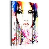 murando Bilder 60x90 cm - Leinwandbilder - Fertig Aufgespannt - 1 Teilig - Wandbilder XXL - Kunstdrucke - Wandbild - Poster Frau Gesicht Porträt Blumen bunt - wie gemalt h-B-0034-b-a