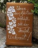 Edelrost Tafel Gärtner mit Efeuranke Schild Gartendekoration
