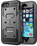Apple iPhone 5 / 5S Case, i-Blason Armorbox Heavy Duty Dual Layer Hybrid Full-body Protective Case with Built-in Screen Protector / Impact Resistant Bumpers (Black)