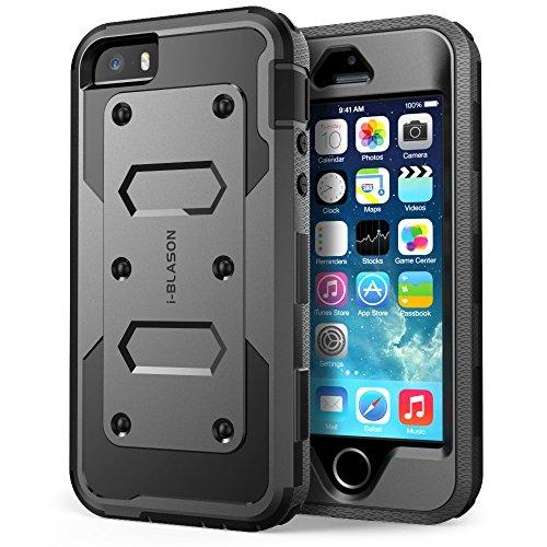 Carcasa Apple iPhone 5 / 5S   i Blason Funda Armorbox serie Carcasa hibrida integral Plus con protector de pantalla incluido, diseño de doble capa + cubierta resistente a impactos (Negro)