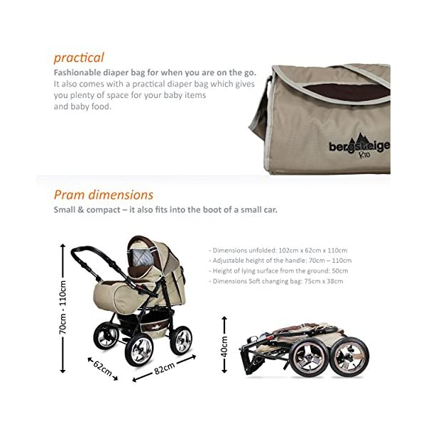 Bergsteiger Rio Combination Pram; soft changing bag; diaper bag; (10-piece mega set; 8 colours) Bergsteiger Comprehensive pram set made by Bergsteiger. This package leaves no wish unfulfilled and will be a trusty companion to you and your child from the moment your child is born. The clever design is easy to use. Thanks to its light weight and compact size, this pram will easily fit into your car. Safety comes first! With this combination pram, you are always on the safe side. The Bergsteiger pram complies with European safety standard EN1888, which specifies safety requirements regarding materials, construction and stability. Stunning colours - modern design. This Bergsteiger pram is not only extremely versatile, it is also an absolute eye catcher. The modern colour scheme and the large air tyres on chrome rims guarantee a beautiful look. 7
