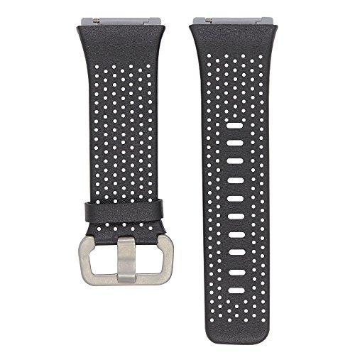 XIHAMA Ersatz-Lederarmband für Fitbit Ionic, Herren Frau Leder Armband, atmungsaktiv Ersatzarmbänder Größe S oder L (L(6.7-8.1), schwarz)