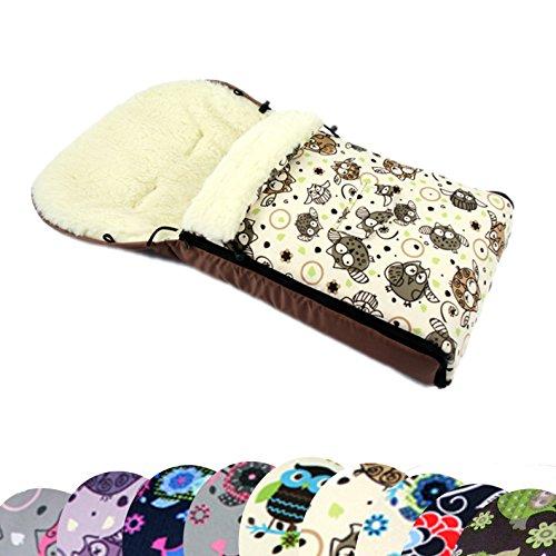 BAMBINIWELT universaler Winterfußsack (90cm oder 108cm), auch geeignet für Babyschale, Kinderwagen, Buggy, aus Wolle im Eulendesign (108cm, $5)