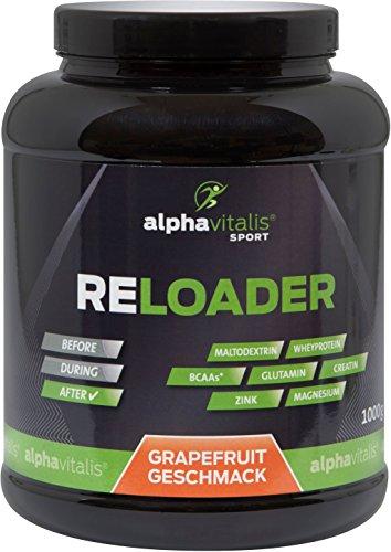 #RELOADER – Post Workout Shake mit Maltodextrin, Whey Protein, BCAA, Creatin, L-Glutamin – 1000g – (Grapefruit Geschmack) – essentielle Aminosäuren, Vitamin B6 und Magnesium – Nährstoffe für Muskelaufbau und schnelle Regeneration#