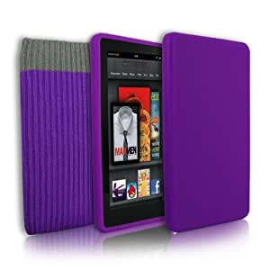 Amazon Kindle Fire HD Soft Silicone Case Cover + Screen Protection Kit & Sock Cover For Amazon Kindle Fire HD (Purple)