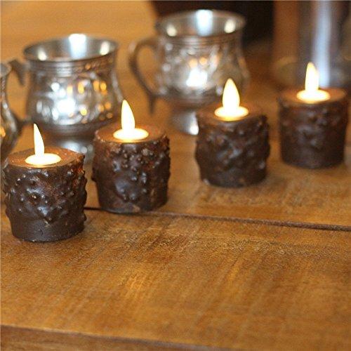 Mystique Primitive Flameless Tealights Vela, Mando a distancia, Borgo?a, Paquete de 6