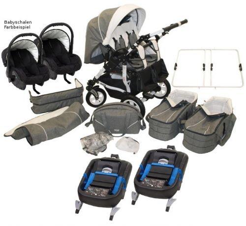 Adbor Duo Spezial 3in1 Zwillingskinderwagen mit Babyschalen und 2 Isofix Stationen, Zwillingswagen, Zwillingsbuggy Farbe D-7 hellblau