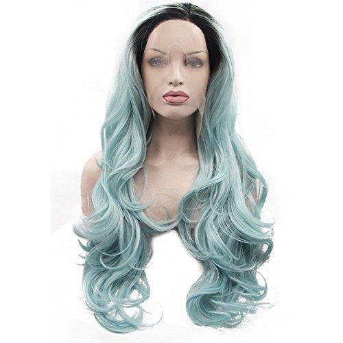 SHKY Handmade 2 Töne Spitze Front Perücke blau grün ombre schwarz Wurzeln Leim Kunststoff Hitze resistente Haare voll Frauen Perücke , 26 (Blau Twotone Perücke Kostüme)