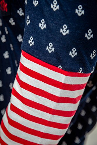 loonatik, Femme breton-style pyjama Multicolore - Navy, White, Burgundy