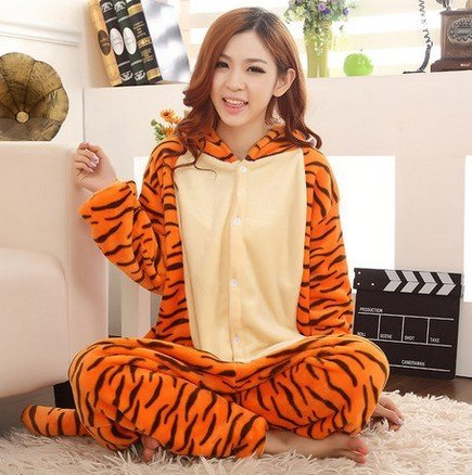 COHO Unisex Kostüm Tigger, als Pyjama oder Verkleidung verwendbar, für Erwachsene geeignet, Kigurumi-Stil X-Large (181-190 cm)