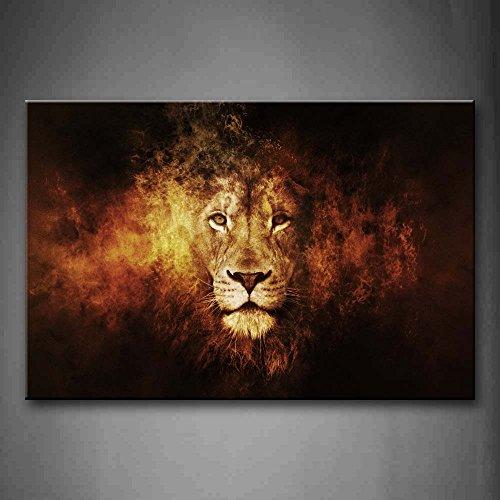 Lion Tête Portrait Peinture murale d'art L'image imprimée...
