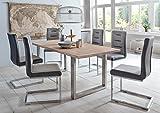 SAM® Stilvoller Esszimmertisch Miami Beach mit Edelstahl Tischgestell, 100% FSC-zertifizierte Eiche, massiv bianco, 4 cm dicke Tischplatte, zeitlose Optik, 180 x 90 cm