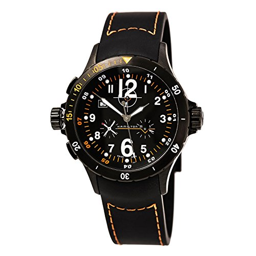 Hamilton H74592333 Men's Khaki Aviation Air Lefty Black Dial Black Rubber Strap Chronograph Watch