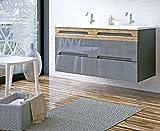 naka24 Badmöbel Set Galaxy-V 120 mit Doppelwaschbecken (Waschbecken Waschbeckenunterschrank, GRAU Hochglanz/Eiche MATT)