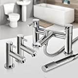 iBathUK | Pair of Hot and Cold Basin Sink Mixer Taps Bath Filler with Shower Head Set