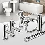 iBath Lot de deux robinets de lavabo et mitigeur bain avec bec de remplissage et douchette Chromé