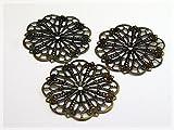 10 filigrane Blumen in antik Bronze von Vintageparts, DIY-Schmuck