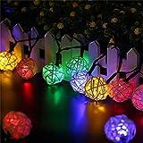 TechCode Solarleuchten Outdoor, Wasserdicht 30 LEDs Solarbetriebene Rattan Ball Fairy String LED-Licht für Terrasse Rasen Garten Home Hochzeit Weihnachtsfeier Dekoration (Farbiges Licht)