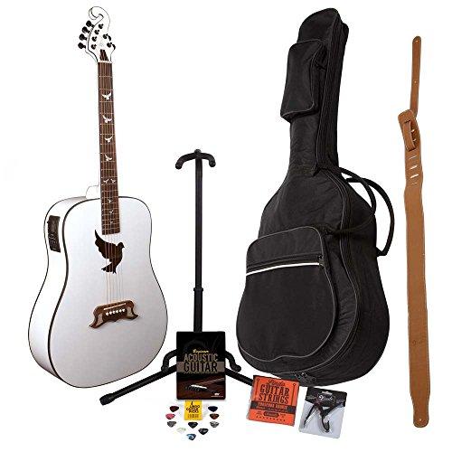 Guitarra electroacústica Lindo White Dove con afinador LCD XLR, bolsa de transporte y paquete de accesorios (funda, soporte de guitarra, cuerdas, correa, 10 púas, DVD, cejilla)