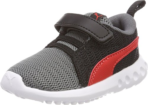 Puma Unisex Baby Carson 2 V Inf Sneaker, Mehrfarbig (Quiet Shade-Flame Scarlet), 26 - Puma Jungen Schuhe