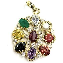SHIV OM Multicolour Synthetic Navratan/Navgrah Semi-precious Stones Pendant/Locket for Women
