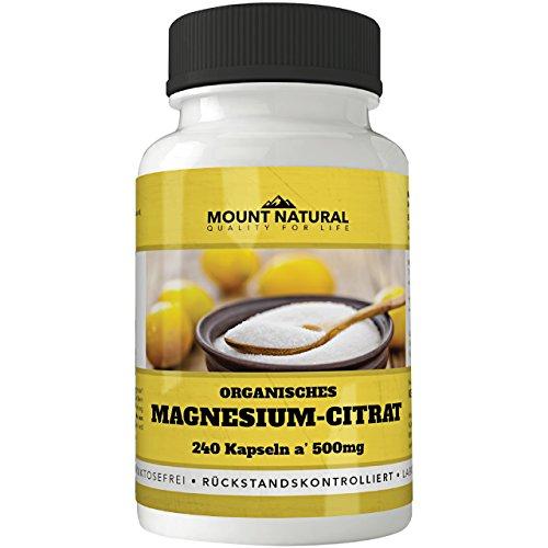 Mount Natural Magnesium 240 Kapseln Hochdosiert. 2000 mg Magnesiumcitrat Davon 320mg Elementares Magnesium Pro Tagesdosis. Ohne Zusatzstoffe, Vegan, Laborgeprüft aus Deutschland