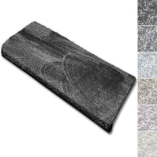 casa pura Stufenmatten Sundae | viele Varianten | Treppenteppich mit kuschlig weichem Flor | kombinierbar mit passenden Läufern | Anthrazit - Rechteckig - 1 Stück