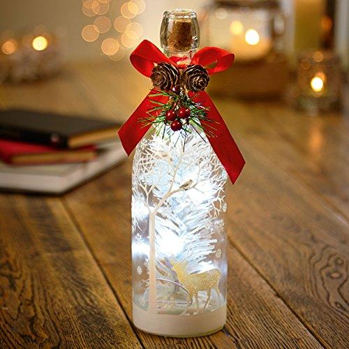Décoration pour bouteille de Noël lumineux à LED avec scène de cerf (28 cm)