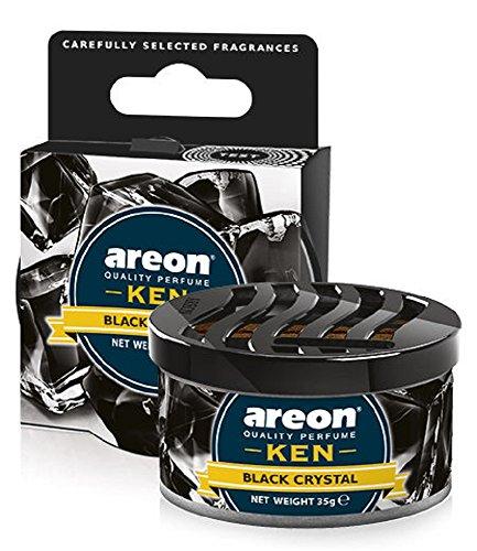 AREON Ken Désodorisant Voiture Cristal Noir en Pot Maison Couvercle Ventilé Réglable 3D (Black Crystal Lot de 1)