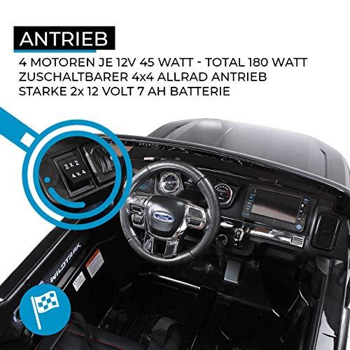 RC Auto kaufen Kinderauto Bild 4: Actionbikes Motors Kinder Elektroauto Ford Ranger Modell 2018 Allrad 4x4 / 2x4 Lizenziert SUV 2 Personen 4 x 12 V 45 Watt (Total 180 Watt) (Schwarz)*