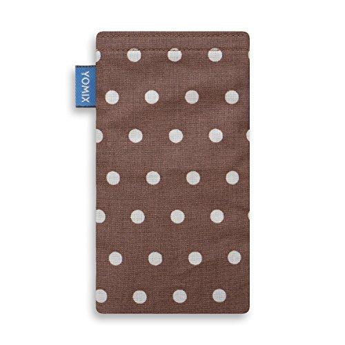 YOMIX Handytasche   Tasche   Hülle FINN für Apple iPhone 4 / 4s aus beschichteter Baumwolle mit genialer Display-Reinigungsfunktion durch Microfaserinnenfutter GUNILLA braun