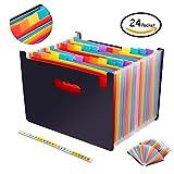jujuism 24Taschen Fächermappen Ordner Bürobox Multicolor A4Ständer Akkordeon Dokument Gutschein Bill Organizer tragbar Kunststoff Dateien Tasche Aktentasche Business