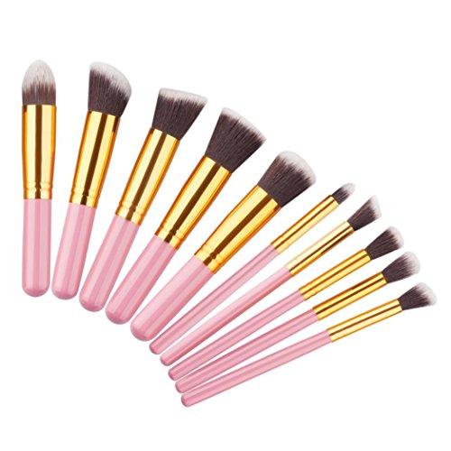 Fulltime®10pcs / set pinceaux de maquillage cosmétiques Foundation Set Powder Eyeshadow (Rose)