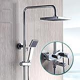 Hlluya Wasserhahn für Waschbecken Küche Das thermostatische Dusche Wasserhahn voll Kupfer kit beheizt - Booster Badewanne Set Dusche