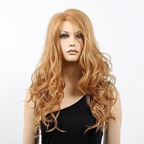 Stfantasy des Perruques pour femme Extra long bouclés résistant à la chaleur Cheveux synthétiques 68,6cm 193G Fluffy Perruque Peluca gratuit Cheveux Net + Clips, Marron