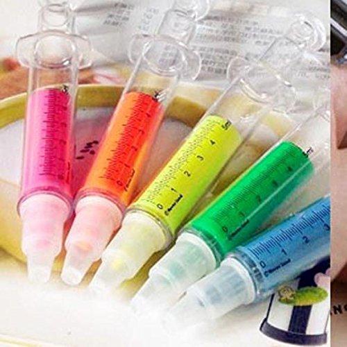 tenflyer-lot-de-6-surligneurs-en-forme-de-seringue-stylos-fluorescents-plastique-ecole-bureau-6-coul