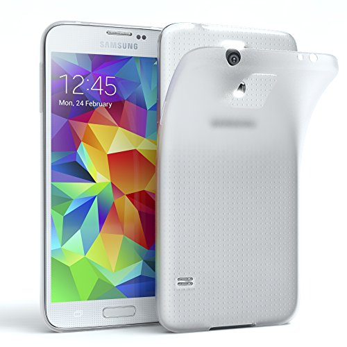 EAZY CASE Hülle für Samsung Galaxy S5 / S5 LTE+ / S5 Duos / S5 Neo Schutzhülle Silikon, matt & Ultra dünn, Slimcover, Handyhülle, Hülle/Soft Case, Silikonhülle, Backcover, Transparent/Weiß