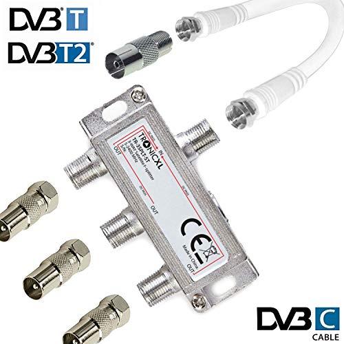 TronicXL 3fach IEC Verteiler Antennenverteiler TV Kabel Kabelfernsehen zb kompatibel mit Unitymedia Splitter Vodafone Netcologne Netaachen Netkassel Telecolumbus Primacom Ewe Unicable DVBT DVB-T2 DVBC