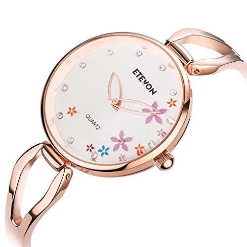 ETEVON Women's Quartz Rose Gold Armband Uhr mit Strass Blumen Zifferblatt und Edelstahl Case, stilvolle Casual Dress Handgelenk Uhren für Damen - 4