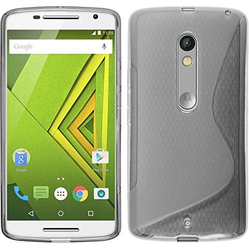 Coque en Silicone pour Motorola Moto X Play - S-Style gris - Cover PhoneNatic Cubierta + films de protection