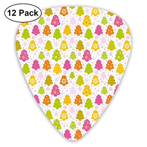 Guitar Picks - Abstract Art Colorful Designs,Lively Christmas Trees With Different Patterns Snowflakes Polka Dots Stars Chevron,Unique Guitar Gift,For Bass Electric & Acoustic Guitars-12 Pack -