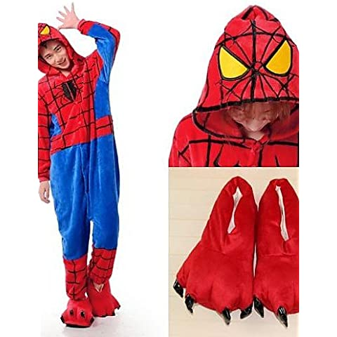 &G&g& 2016 spider-man franela adultos pijama kigurumi cosplay ropa de dormir con zapatillas , female-xl , female-xl