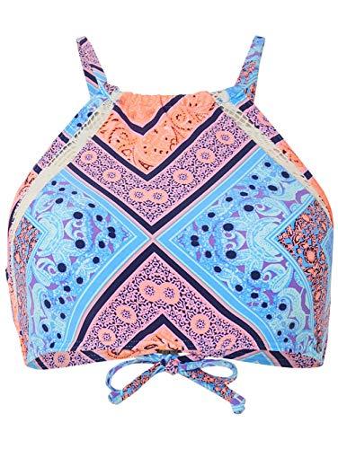 ra Lace Bikini Top, Blau All Over Print W, 40 ()